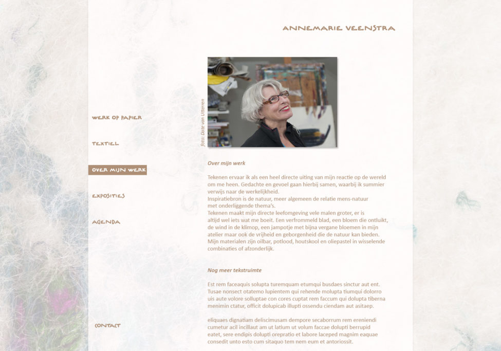 Ontwerp Website Annemarie Veenstra, Beeldend Kunstenaar Te Leeuwarden, 2012. Voorbeeld Pagina