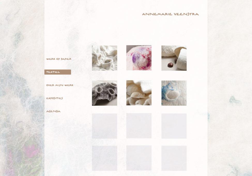 Ontwerp Website Annemarie Veenstra, Beeldend Kunstenaar Te Leeuwarden, 2012. Voorbeeld Textiel Gallery.