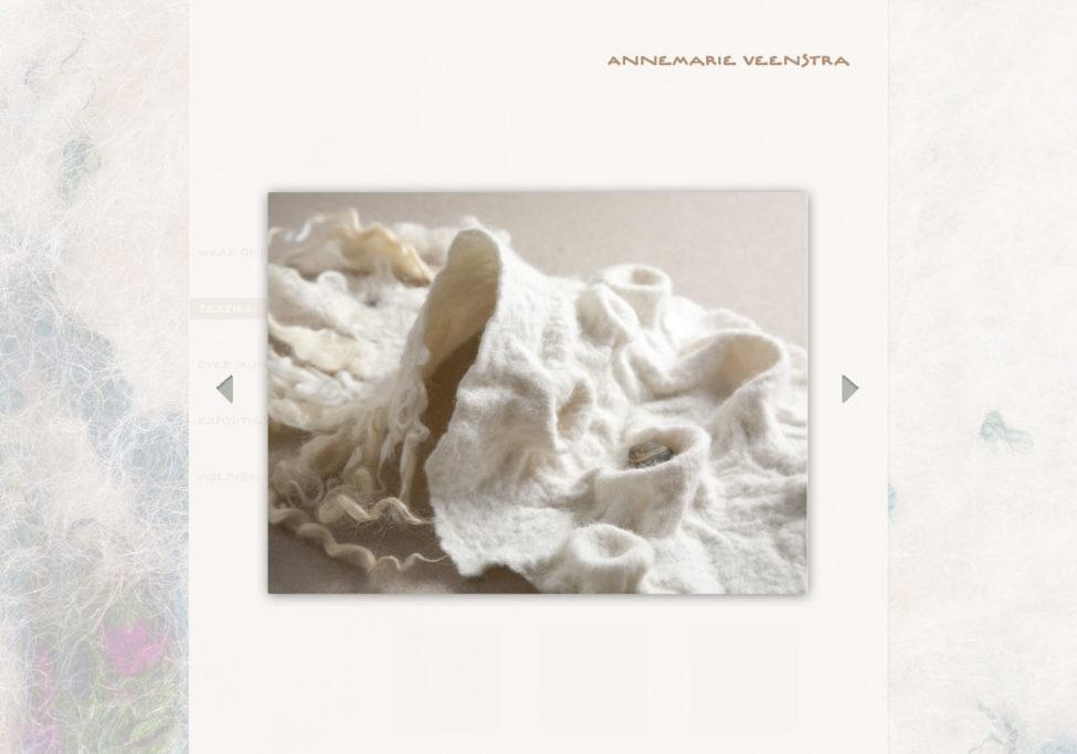 Ontwerp Website Annemarie Veenstra, Beeldend Kunstenaar Te Leeuwarden, 2012. Voorbeeld Vilt Lightbox.
