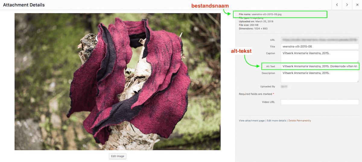 screendump van alttekst en bestandsnaam in wordpress CMS